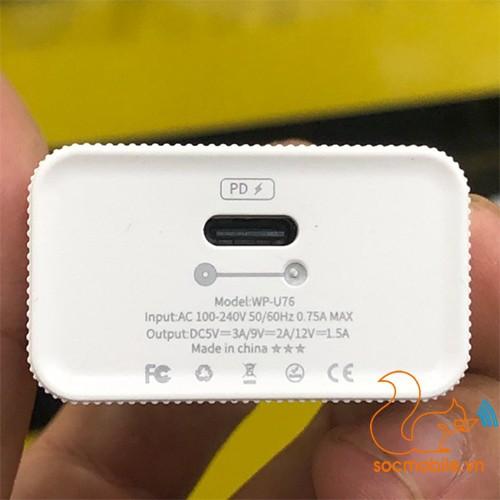 ComBo Cáp & Sạc nhanh 18W cho iPhone Remax WP-U76 cổng Type C chuẩn PD Chính Hãng